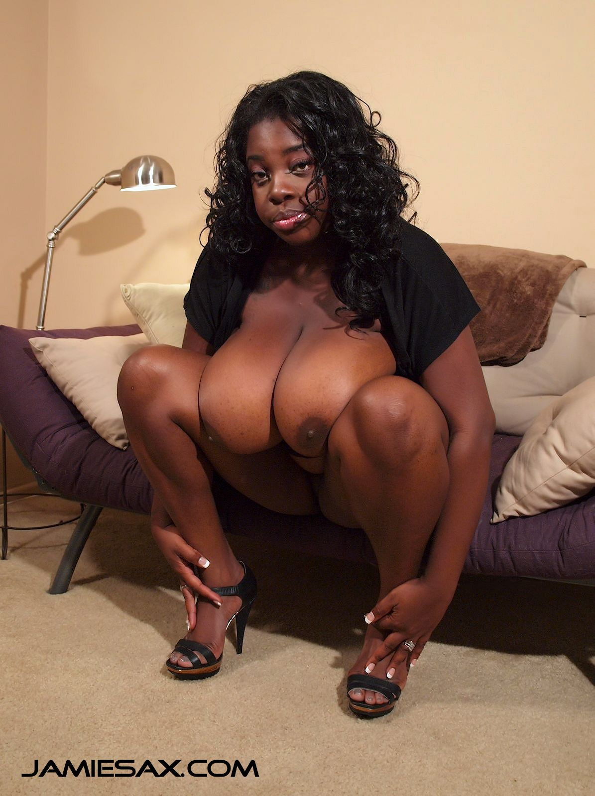 Big black tit milf, Jamie Sax spread her legs in high heels.