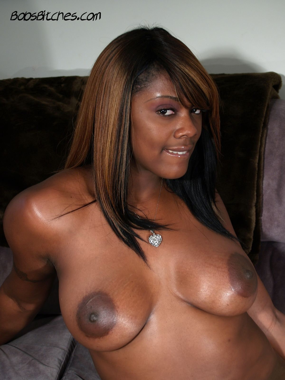 Big tit black beauty, Barbie Banxxx exposes her large areolas.