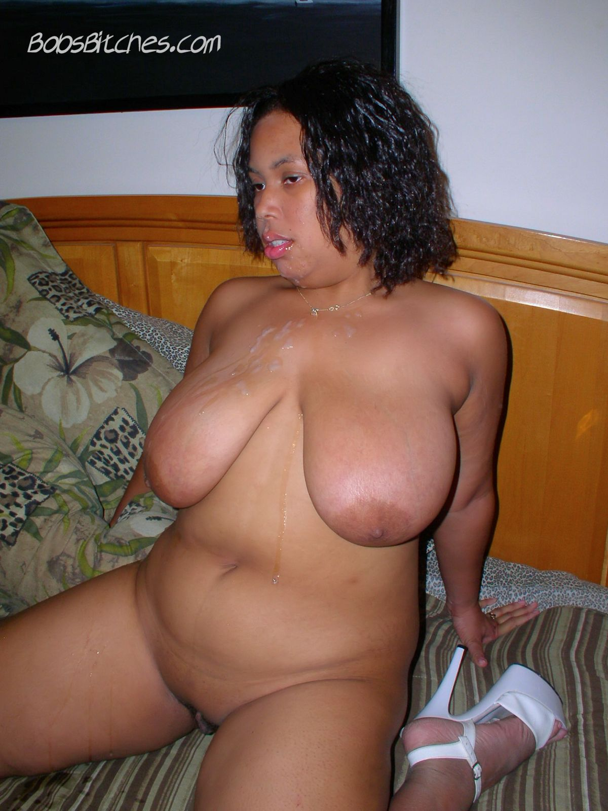 Big tit ebony milf get her huge boobs covred in cum after sucking dick.