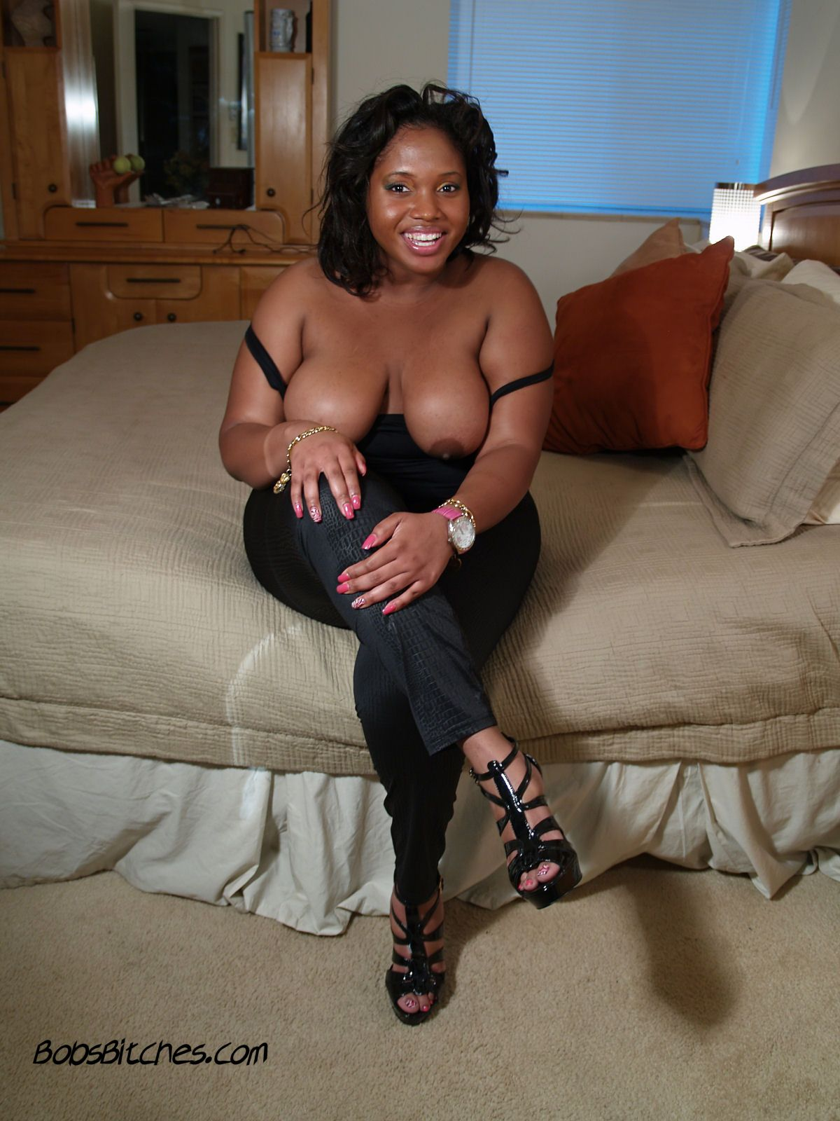 Big tit ebony bbw, Jewel, getting ready to suck cock.