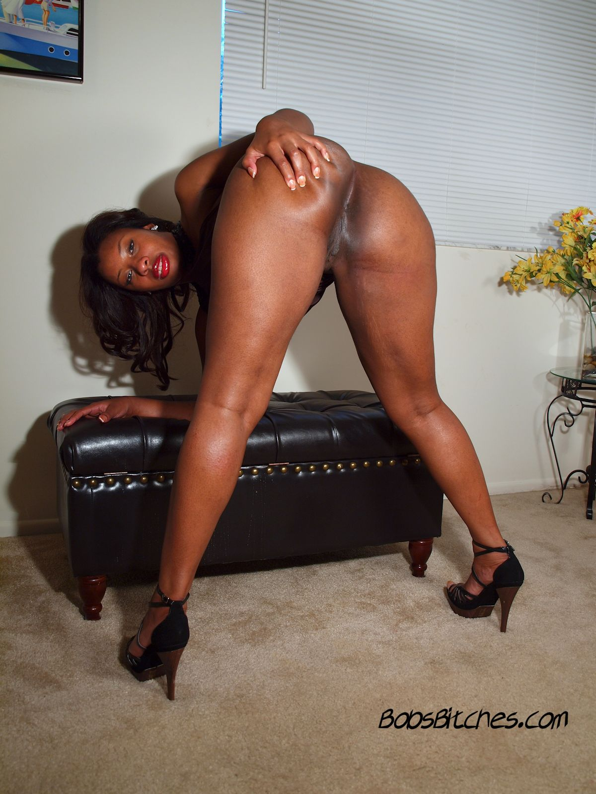 Ebony milf, Sienns Dream shoes off her big black ass and sexy legs.
