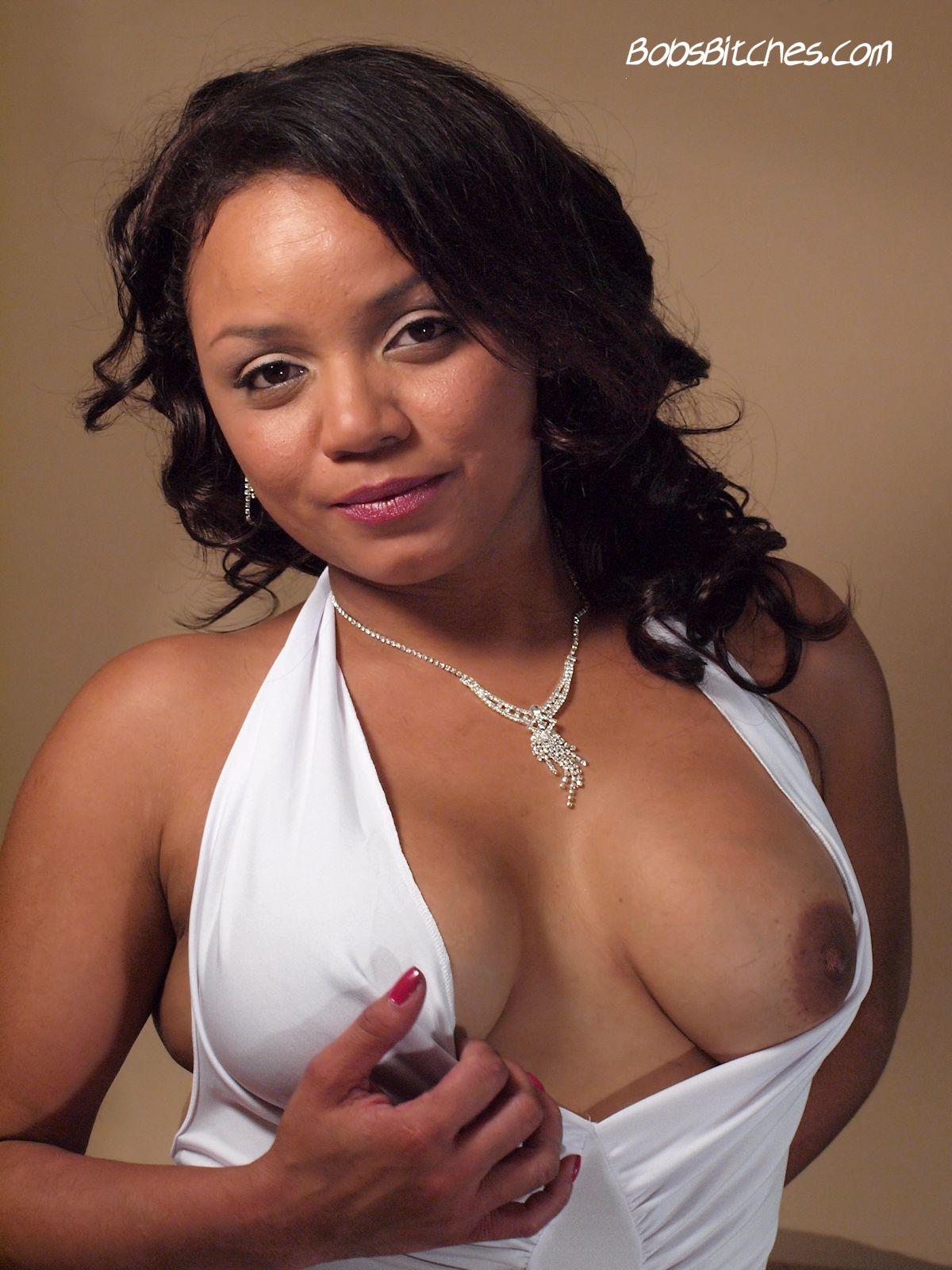 Big tit mixed bitch, Jessy Alpha exposes her erect nipples.