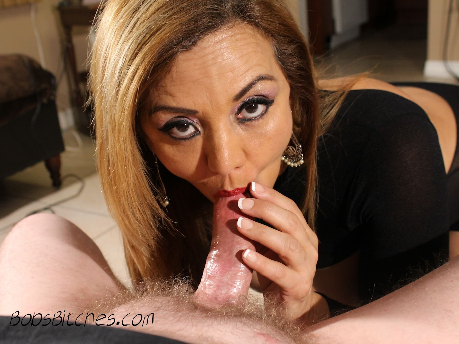 Latina milf, deep throats  cock.