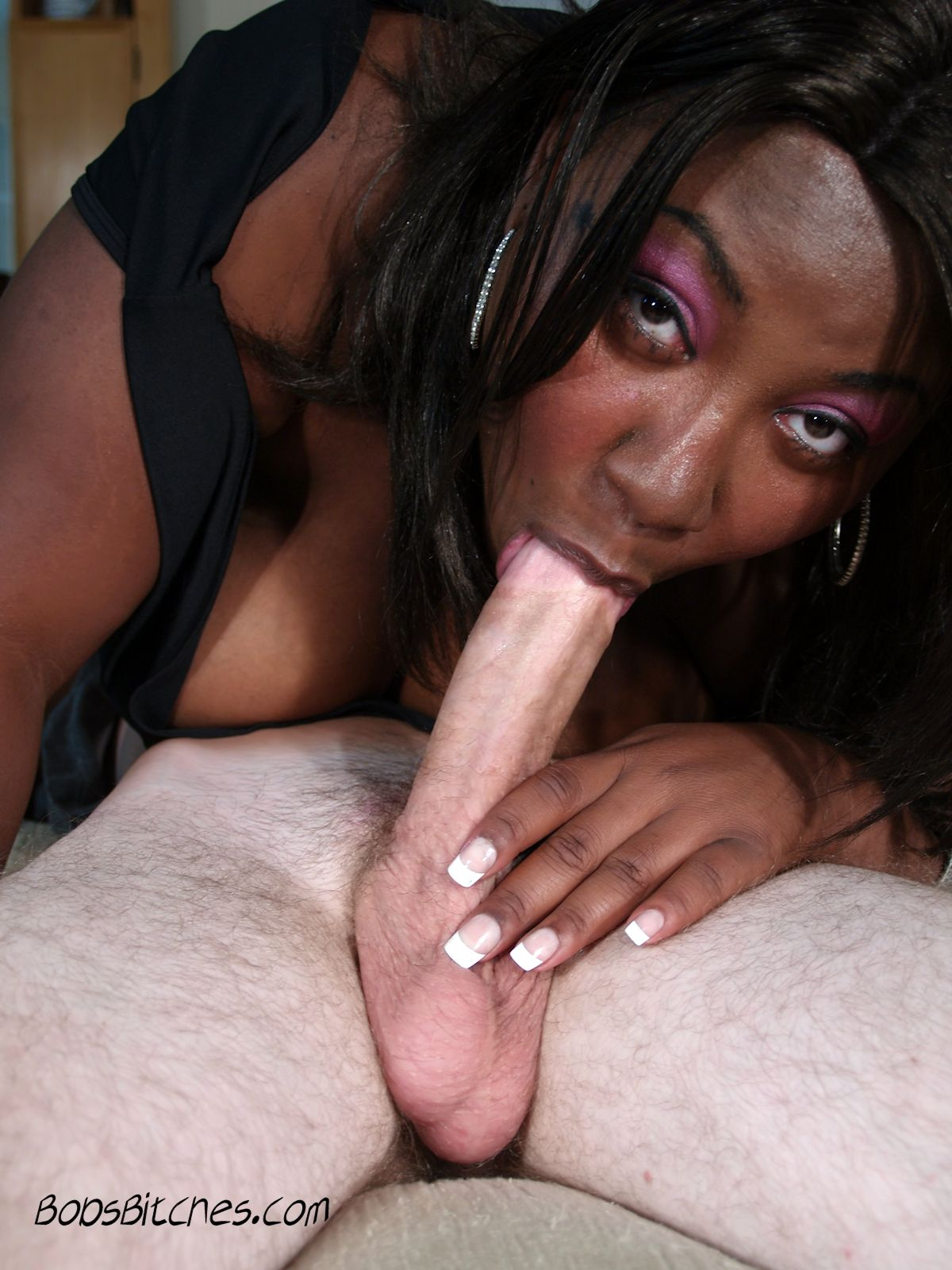 Ebony beauty, Timeka Taylor, goes down on a big white dick doing a 69.